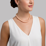 10-11mm Peach Freshwater Pearl Necklace - AAA Quality - Model Image