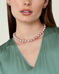 10-11mm Pink Freshwater Pearl Necklace - AAAA Quality - Model Image
