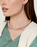 10-11mm Pink Freshwater Pearl Necklace - AAA Quality - Model Image