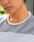 10-12mm White South Sea Pearl Necklace - Model Image