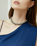10-12mm Silver Tahitian South Sea Pearl Necklace- AAAA Quality - Model Image