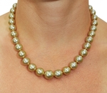 10-12mm Golden South Sea Pearl Necklace - AAAA Quality - Model Image