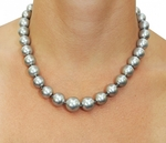 11-13mm Silver Tahitian South Sea Pearl Necklace - Model Image