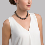 11-14mm Peacock Tahitian South Sea Pearl Necklace - AAA Quality - Model Image