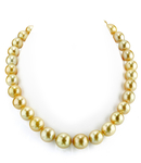 11-13mm Off-Round Golden South Sea Pearl Necklace - AAA Quality