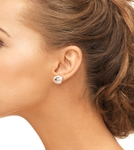 11mm Peach Freshwater Pearl Stud Earrings - Secondary Image