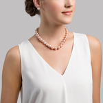 12-13mm Pink Freshwater Pearl Necklace - Model Image