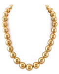 12-14mm Golden South Sea Oval Pearl Necklace - AAAA