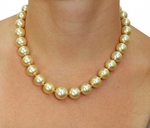 12-14mm Golden South Sea Pearl Necklace - Model Image