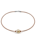 Golden Baroque Pearl Leather Necklace- Various Sizes