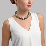 13-15mm Tahitian South Sea Pearl Necklace - AAA Quality - Model Image
