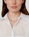 5.0-5.5mm Japanese Akoya White Pearl Necklace- AA+ Quality - Model Image