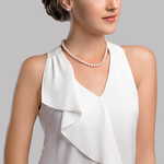 7.0-7.5mm Japanese Akoya White Choker Length Pearl Necklace- AA+ Quality - Secondary Image