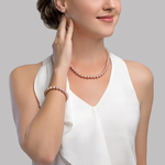 7-8mm Pink Freshwater Pearl Necklace, Bracelet & Earrings - Model Image