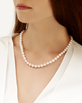 7.0-7.5mm Japanese Akoya White Choker Length Pearl Necklace- AA+ Quality - Model Image