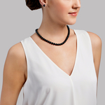 7.5-8.0mm Japanese Akoya Black Pearl Necklace- AA+ Quality - Secondary Image