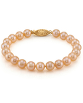 7-8mm Peach Freshwater Pearl Bracelet - AAAA Quality - Secondary Image