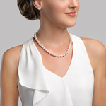 8.0-8.5mm Japanese White Akoya Pearl Necklace & Earrings - Model Image