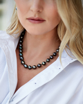 9-11mm Tahitian South Sea Drop Pearl Necklace - AAAA Quality - Model Image