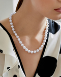 9.5-10mm Japanese Akoya White Pearl Necklace- AA+ Quality - Model Image