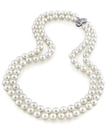 9-10mm White Freshwater Pearl Double Strand Necklace