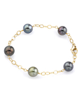 9-10mm Tahitian South Sea Multicolor Pearl Tincup Bracelet - Model Image