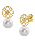 Freshwater Pearl & Diamond Faye Earrings - Third Image