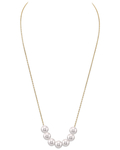 Japanese Akoya Pearl  14K Gold Tincup Celeste Necklace - Model Image