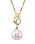 Akoya Pearl & Diamond Symphony Pendant- Choose Your Pearl Color - Third Image