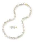 8.0-8.5mm Japanese White Akoya Pearl Necklace & Earrings - Secondary Image