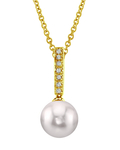 Akoya Pearl Dangling Diamond Pendant- Choose Your Pearl Color - Third Image