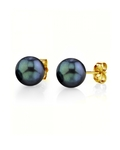 8.5-9.0mm Black Akoya Stud Earrings - Model Image