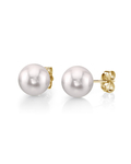 5.0-5.5mm White Akoya Pearl Stud Earrings - Model Image