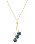 14K Gold Black Japanese Akoya Pearl Tincup Cluster Pendant - Third Image