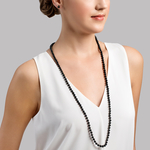 Opera Length Japanese Akoya Black Pearl Necklace - Model Image