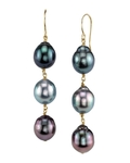Tahitian South Sea Drop Multicolor Pearl Tincup Earrings - Model Image