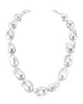 14-17mm White Freshwater Baroque Pearl Necklace - AAA Quality