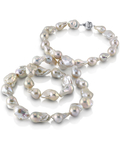 13-15.5mm White Freshwater Baroque Pearl Necklace