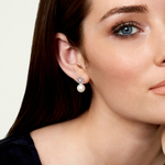 Freshwater Pearl & Diamond Faye Earrings - Model Image