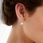 Freshwater Pearl & Diamond Joyce Earrings - Model Image