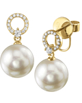 Freshwater Pearl & Diamond Joyce Earrings - Third Image