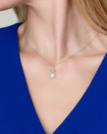 Freshwater Pearl & Diamond Lacy Pendant - Model Image
