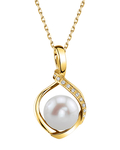 Freshwater Pearl & Diamond Alexis Pendant- Choose Your Color - Model Image
