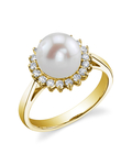 Freshwater Pearl & Diamond Solar Ring - Model Image