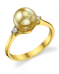 Golden South Sea Pearl & Diamond Jordana Ring