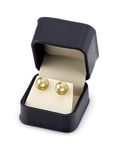11mm Golden South Sea Pearl Stud Earrings- Choose Your Quality - Secondary Image