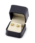 8mm Golden South Sea Pearl Stud Earrings - Secondary Image