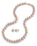 7-8mm Pink Freshwater Choker Length Pearl Necklace & Earrings - Secondary Image