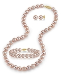7-8mm Pink Freshwater Pearl Necklace, Bracelet & Earrings - Secondary Image