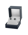 9mm Tahitian South Sea Pearl Stud Earrings- Silver Color - Secondary Image